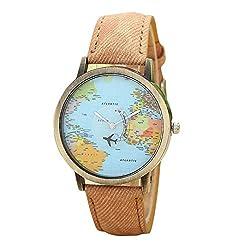 Womens Watch, Leegor Global Travel By Plane Map Watch Denim Fabric Band (Coffee)