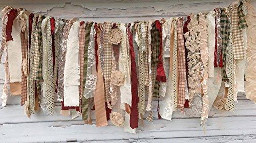 Shabby Chic Holiday Rag Tie Garland: ~ Photo Shoot ~ Wedding ~ Birthday ~ Nursery ~ Bridal Shower ~ Highchair Banner ~ Gender Reveal Parties ~ Decorations ~ Wall Decor! (3 FEET WIDE) ()