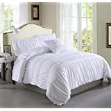 A Nice Night 4-piece Chic Ruched Duvet Cover Set (Queen, White)