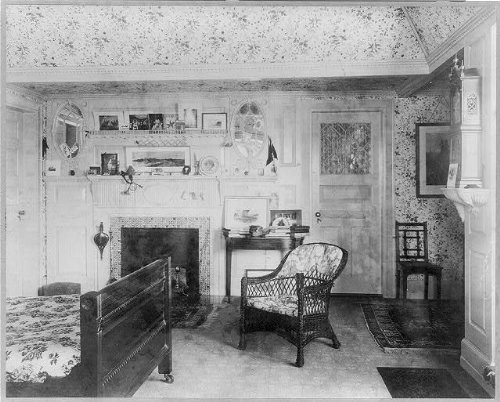 HistoricalFindings Photo: Colonial period interior,1900,Emerson house,bedchamber,mantel,fireplace,Salem,MA