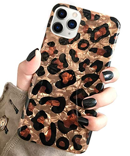J.west Case for New iPhone 11 Pro Max Luxury Sparkle Bling Translucent Leopard Print Soft Silicone Phone Cover for Girls Women Slim Fashion Design Pattern Protective Case for iPhone 11 Pro Max 6.5inch