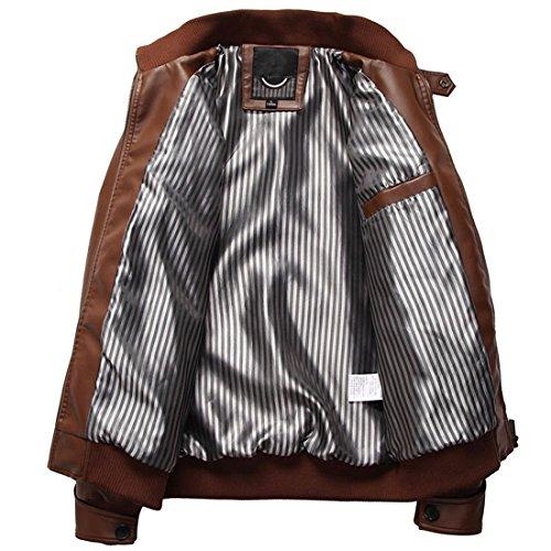Cappotto Floreale Pelle Punk Uomo Marrone Ricamo Pu Casual In Collare Stile Moto Maniche Jacket Lunghe Giacca qdHn4Bwd