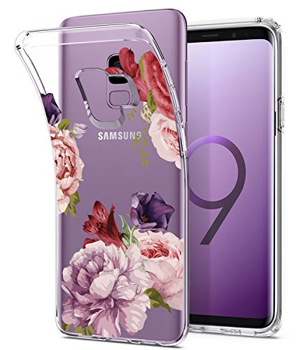 Galaxy S9 Case, Floral Flower Design Clear Case, JDBRUIAN TPU Soft Protective Case Flexible Silicone Glossy Skin Cover Phone Case for Samsung Galaxy S9 (2018) Red Purple
