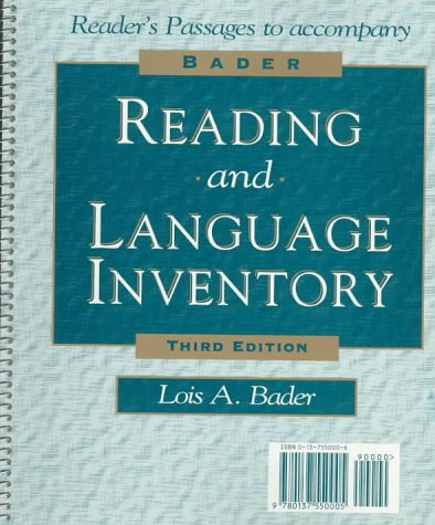 Bader Reading and Language Inventory with Booklet (Graded Reading Passages) Pkg.