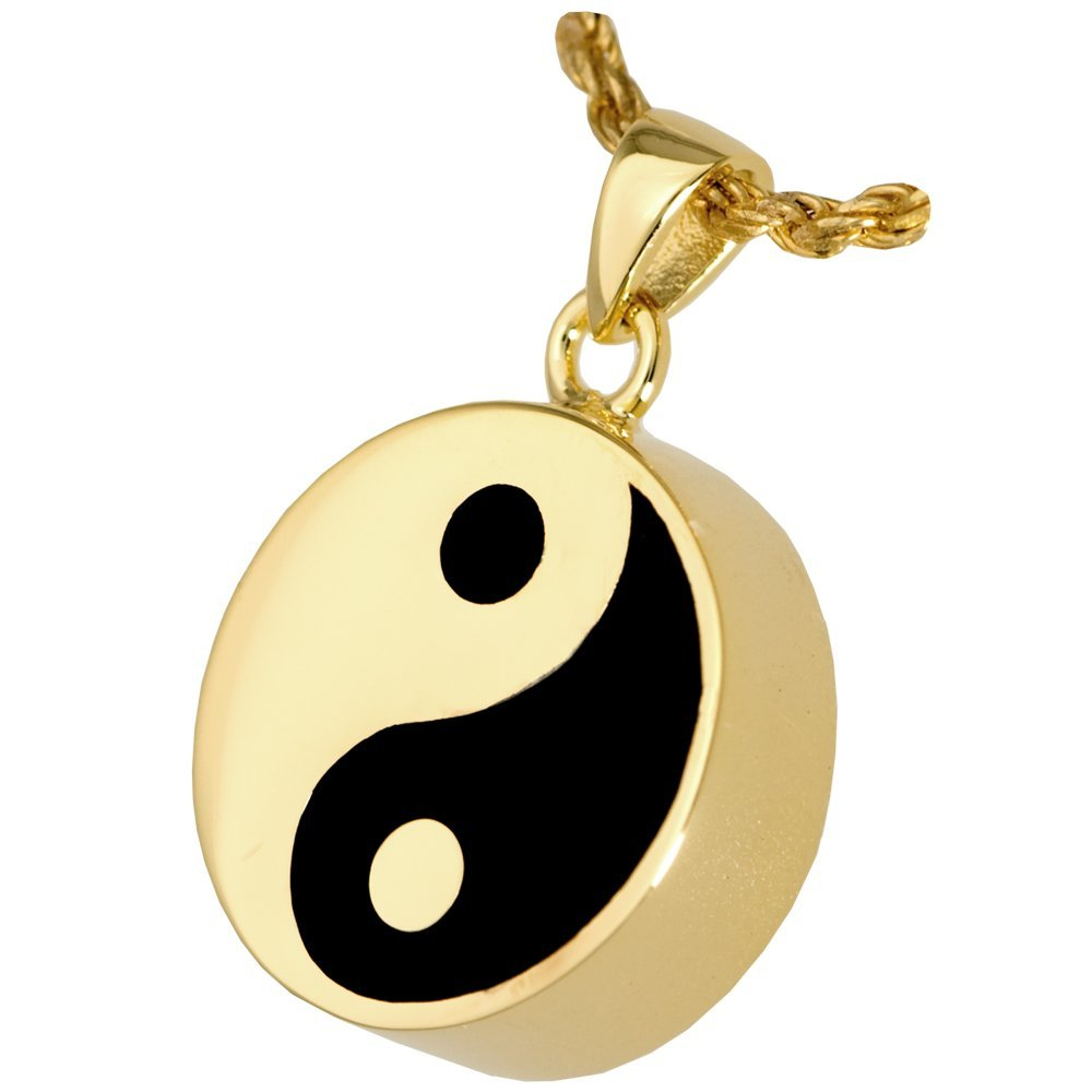gold-Plated Sterling Silver Memorial Gallery MG-3246gp Yin Yang Double Compartment 14K gold Silver Plating Cremation Pet Jewelry