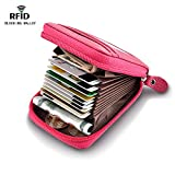 Accordion Style RFID Blocking Card Holder Wallets for Travel and Work, Card Organizer for Business Cards and Driver License, Genuine Leather Wallet for Credit Card and Money Small Rose Red