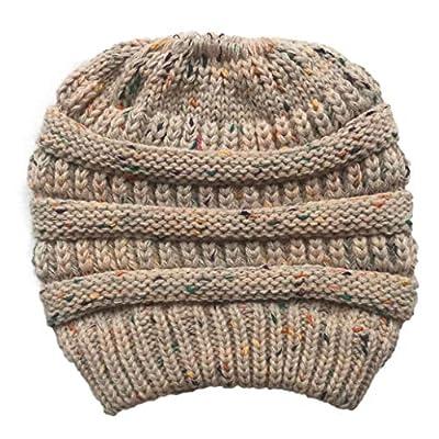 York Zhu Women's Messy Bun Beanie - Ponytail Beanie Women Winter Warm Holey Knitted Caps