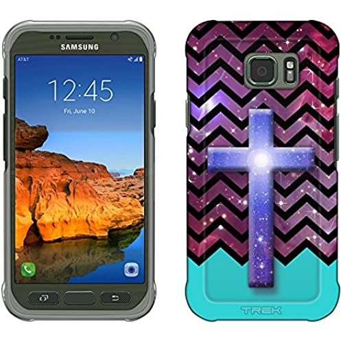 Samsung Galaxy S7 Active Case, Snap On Cover by Trek Cross on Chevron Black White Turquoise Ribon on Nebula Slim Case Sales