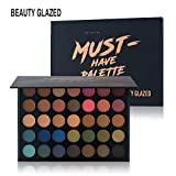 Beauty Glazed Eyeshadow Palette, Professional 35 Colors Matte Eye Shadow Pallet Waterproof Powder Natural Pigmented Nude Smokey Eyes Pallete