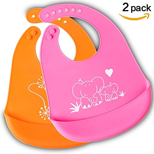 Bib, Easily Wipes Clean, Comfortable Soft Baby Bibs, Keep Stains Off. Spend Less Time Cleaning after Meals with Babies or Toddlers,Set of 2 Colors(Orange&Rose (Baby Meal Time Set)