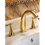 ZQ Personality Fashion Style Brass Widespread Ti-PVD Golden Waterfall Roman Tub Sink Faucet Two Handle Three Holes Basin Vessel Tap Mixer