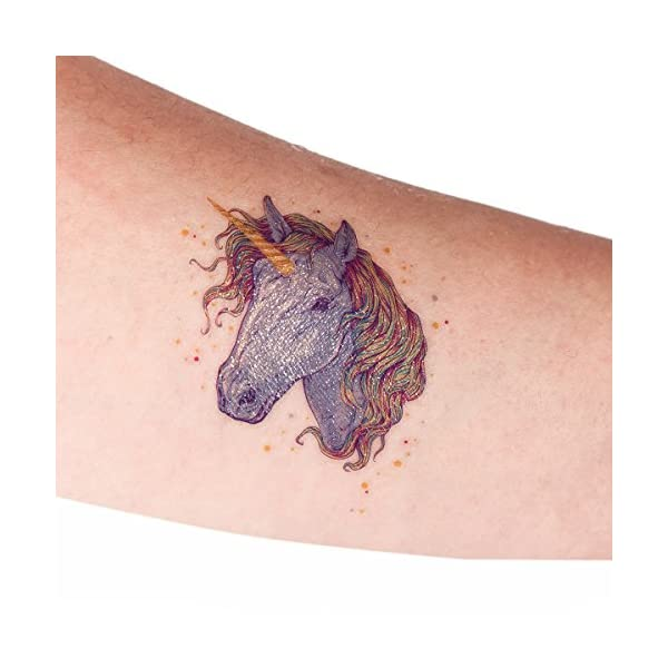 Funnlot Unicorn Temporary Tattoos for Kids Girls Birthday Party Supplies Set of 24 Waterproof Glitter Stickers (24) 8