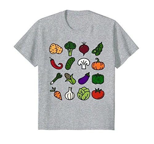 Kids Colorful Veggie Icon T Shirt Vegetables Vegetarian Vegan 12 Heather Grey
