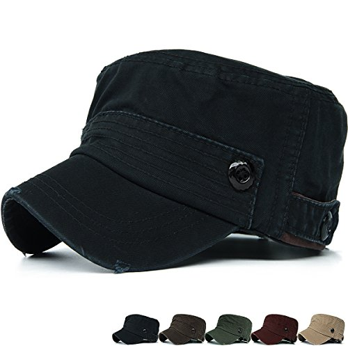REDSHARKS Washed Cotton Cadet Cap Military Army Hat Various Style Distressed Denim Black