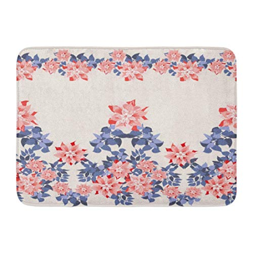 (fashion-By Doormats Bath Rugs Outdoor/Indoor Door Mat Gorgeous Border in Cute Flowers of Clematis and Navy Leaves Floral Exotic Pattern Fills Decoupage Satin Bathroom Decor Rug 16