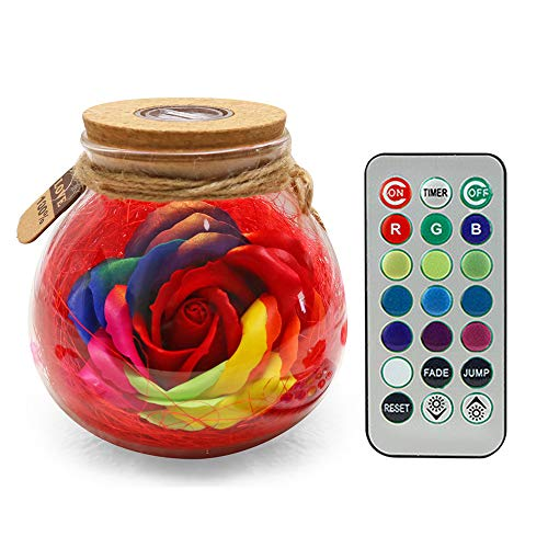 CTGVH Colorful LED Forever Rose, Romantic LED Mood Light Soap Rose Wishing Bottle with Remote Control, Eternal Rose Best…