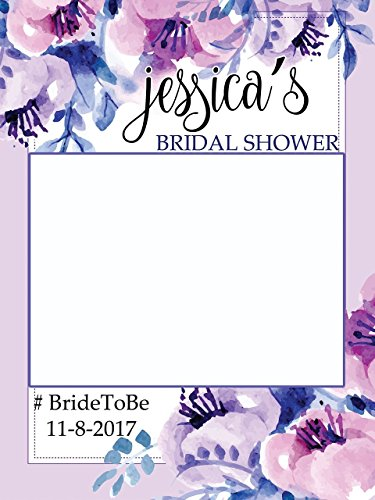 Custom Floral Bridal Shower Photo Booth Frame - Sizes 36x24, 48x36; Personalized Bridal Shower Decorations, Wedding photo booth prop, Bride to be, Miss to Mrs. Handmade Party Supply Photo Booth Props from speedyorders