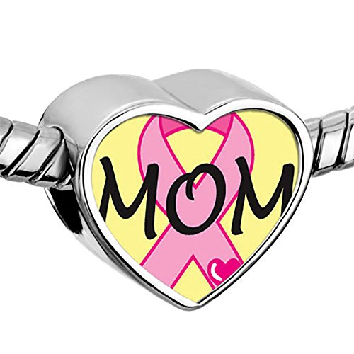 CharmSStory Mom Breast Cancer Awareness Heart Photo Bead For Charms Bracelets