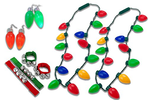 Jingle Bells Light Sets (2 Christmas Lights Necklace, With 4 Jingle Bell Bracelets, 4 Lighted Christmas Earrings, (2 red 2 green) For Your Complete Christmas Set, By 4E's Novelty,)