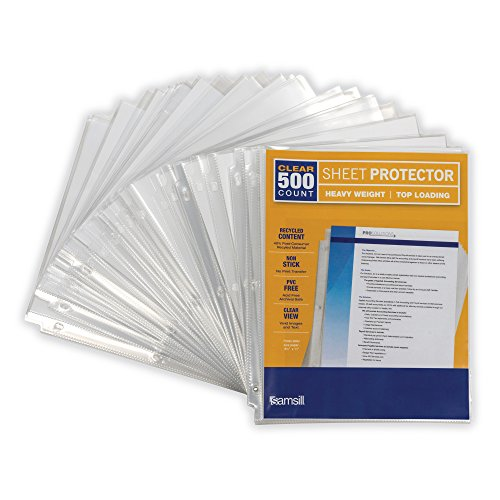 Samsill Heavyweight Clear Recycled Sheet Protectors, Box of 500, 40 Percent Post Consumer Recycled Content, Acid Free, Archival Safe, 8.5 x 11 Inches, Top Load (Finish Clear Protector Sheet)