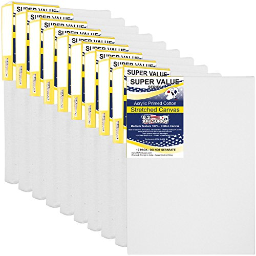 US Art Supply 8 x 10 inch Super Value Quality Acid Free Stretched Canvas 10-Pack - 3/4 Profile Primed Gesso (Super Value Pack of 10 Canvases) Primed Canvas