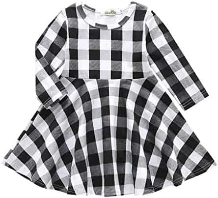 774aaac288 Kehen Infant Baby Toddler Girl Spring Dress Long Sleeve Plaids Checked  Party Princess Floral Dresses Tutu