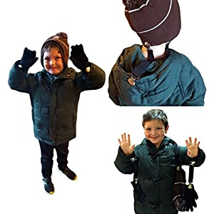 """JJ's Elastic Glove and Mitten Clips for Kids THREE EXTRA STURDY SUPER TIGHT GRIPS with Soccer Design Clip. Two 4"""" Plus one 6"""" Clips. Never Lose Hat, Scarf, Earmuff, Gloves Again"""