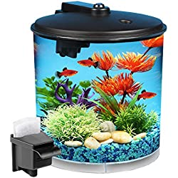 Koller Products AquaView 2-Gallon 360 Fish Tank with Power Filter and LED Lighting