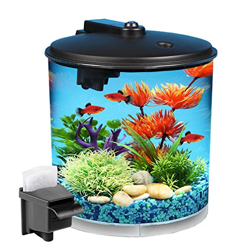 (Koller Products AquaView 2-Gallon 360 Fish Tank with Power Filter and LED Lighting)