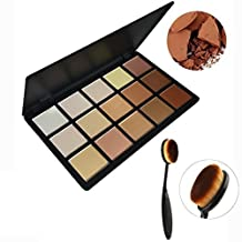 Tinabless 15 Colour Makeup Contour Kit - Professional Make Up Contouring and Highlighting Palette - Face Powder Foundation Palette - Sleek Highlighter Palette with Oval Toothbrush Foundation Brush by Tinabless