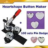 Badge Button Maker Kit! Heart Shape Machine+100 Pinback Supplies 2-1/4'' 57mm