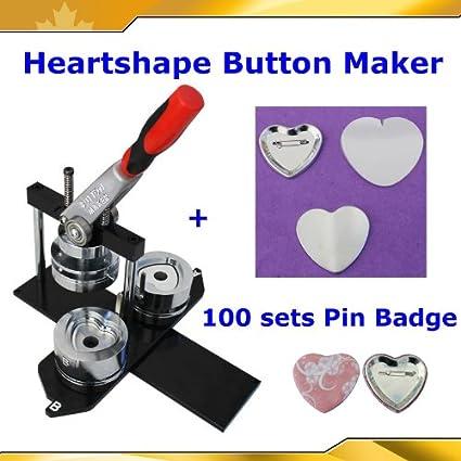 Badge Button Maker Kit! Heart Shape Machine+100 Pinback Supplies 2-1/4