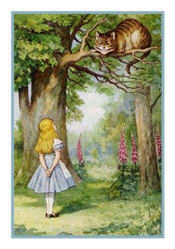 alice-and-cheshire-cat-by-john-tenniel-counted-cross-stitch-pattern