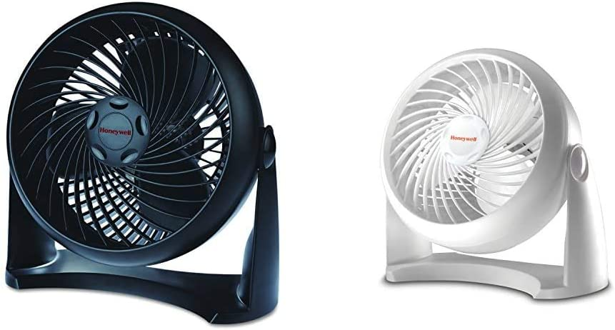 Honeywell HT-900 TurboForce Air Circulator Fan Black & Kaz HT-904 Tabletop Air-Circulator Fan White