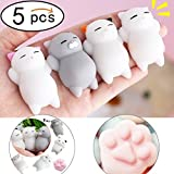 Denshine Squishies, Squishy Toys Squishy Cat 4 Squishy Cat and 1 Cat Craw Educational Toys Squishy Cat Stress Reliever Super Soft Kawaii Squishies Slow Rising Toys for Kids, Adults Best Party Favors (5 pcs)