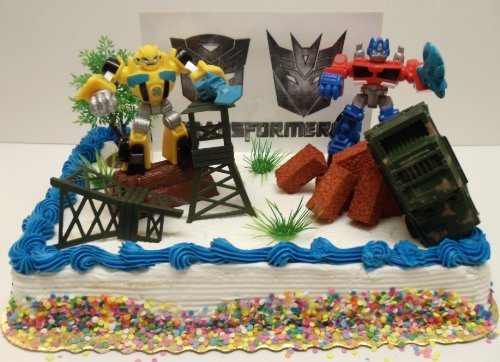 Transformers 10 Piece Birthday Cake Topper Set Featuring Bumblebee and Optimus Prime Figures with Themed Decorative Accessories - Cake Topper Set Includes All Items Pictured by Transformers