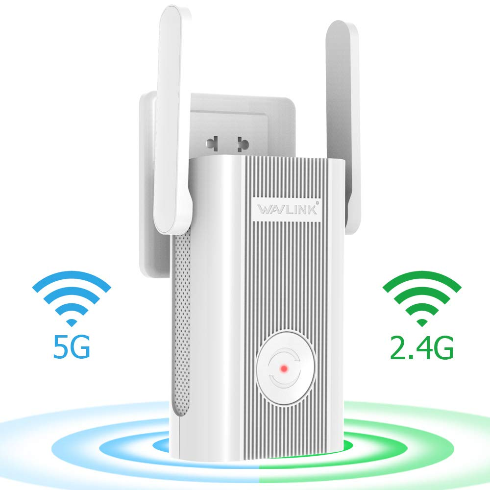 WAVLINK 1200Mbps Dual Band Wi-Fi Extender, Wireless Repeater Range Extender, 2 x 5DBi Antennas Signal WiFi Booster Repeater/AP Mode,Plug and Play, WPS, Support Any Router by WAVLINK