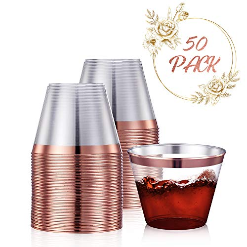 50 Rose Gold Party Cups 9 Oz Clear Plastic Cups Old Fashioned Tumblers | Rose Gold Rim Disposable Hard Party Cups for Wedding, Parties, Fancy Bridal Shower -