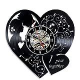 Cheap Anniversary 1 Years Art Vinyl Wall Clock Gift Room Modern Home Record Vintage Decoration
