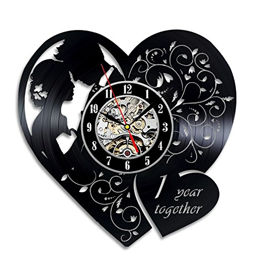 Anniversary 1 Years Art Vinyl Wall Clock Gift Room Modern Home Record Vintage Decoration