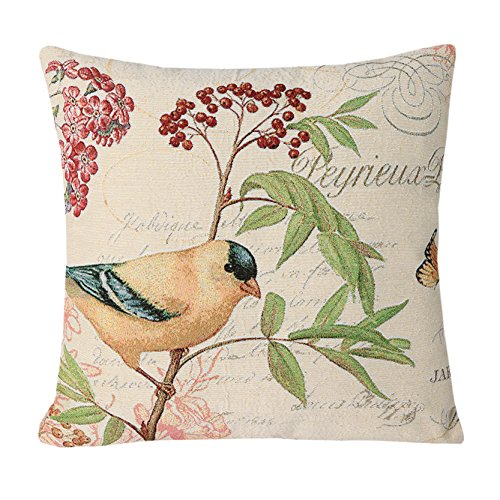 Painted Hand French Bench Floral (Simple SimpleDecor Jacquard Bird On The Tree Accent Decorative Throw Pillow Case Hand Painted Cushion Cover Cute Traditional Chinese Painting 18X18)
