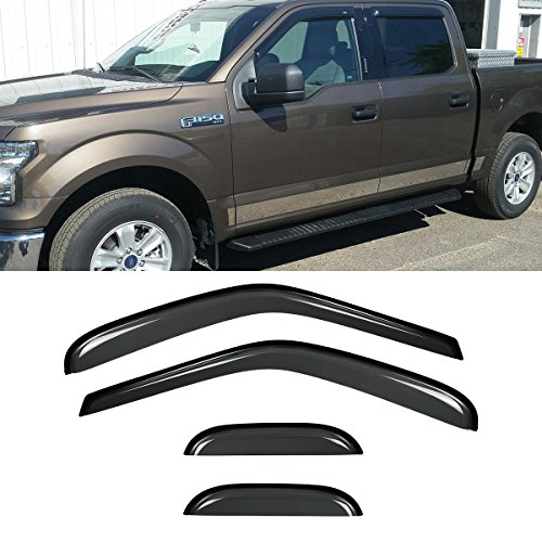 (Audrfi 4pcs Window Visors Sun/Rain Guard for 97-03 F150 97-99 F250 Light Duty Extended/Super Cab (With 2 Half Size Rear Doors) Smoke Side Wind Deflectors Vent Visor )