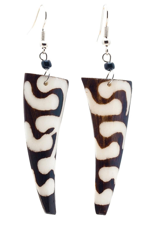 Maisha Beautiful African Fair Trade Trendy Long up Cycled Camel Batiked Bone Earrings