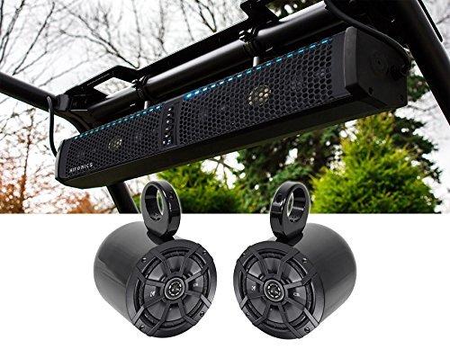 Hifonics TPS-6 Waterproof Bluetooth Marine ATV Soundbar+Kicker Tower Speakers
