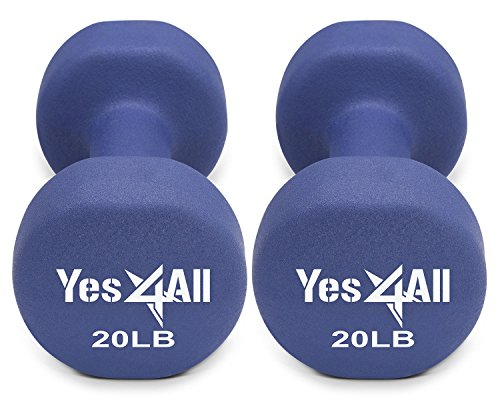 Neoprene Dumbbell Hand Weight Sets Non Slip Grip 2 - 20 lbs Sold in Pair (Medium Dark Blue-20 lbs (pair))