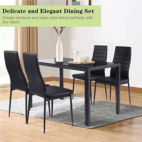 home, kitchen, furniture, kitchen, dining room furniture,  table, chair sets 1 on sale Giantex 5 Piece Kitchen Dining Table Set with promotion