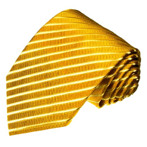 (LORENZO CANA Luxury Italian 100% Silk Tie Gold Yellow Solid Stripes Woven)