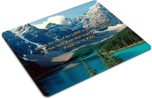 Famous Bible Verse Psalm 33:18 Mouse Pads Customized Made to Order Support Ready 9 7/8 Inch (250mm) X 7 7/8 Inch (200mm) X 1/16 Inch (2mm) High Quality Eco Friendly Cloth with Neoprene Rubber MSD Mouse Pad Desktop Mousepad Laptop Mousepads Comfortable Computer Mouse Mat Cute Gaming Mouse_pad