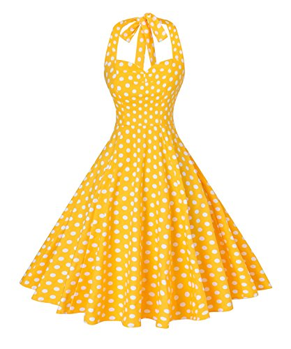 (V Fashion Women 's Rockabilly 50s Vintage Polka Dots Halter Cocktail Swing Dress Yellow and White)
