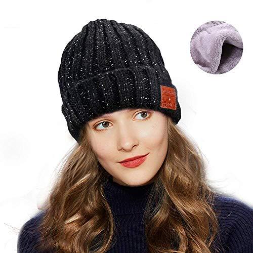 Number-One Unisex Bluetooth Beanie Knit Hat Cap Winter Warm Musical Black Beanie with Wireless Heatset Stereo Speaker Mic Handsfree for Outdoor Sports Running Skiing Walking